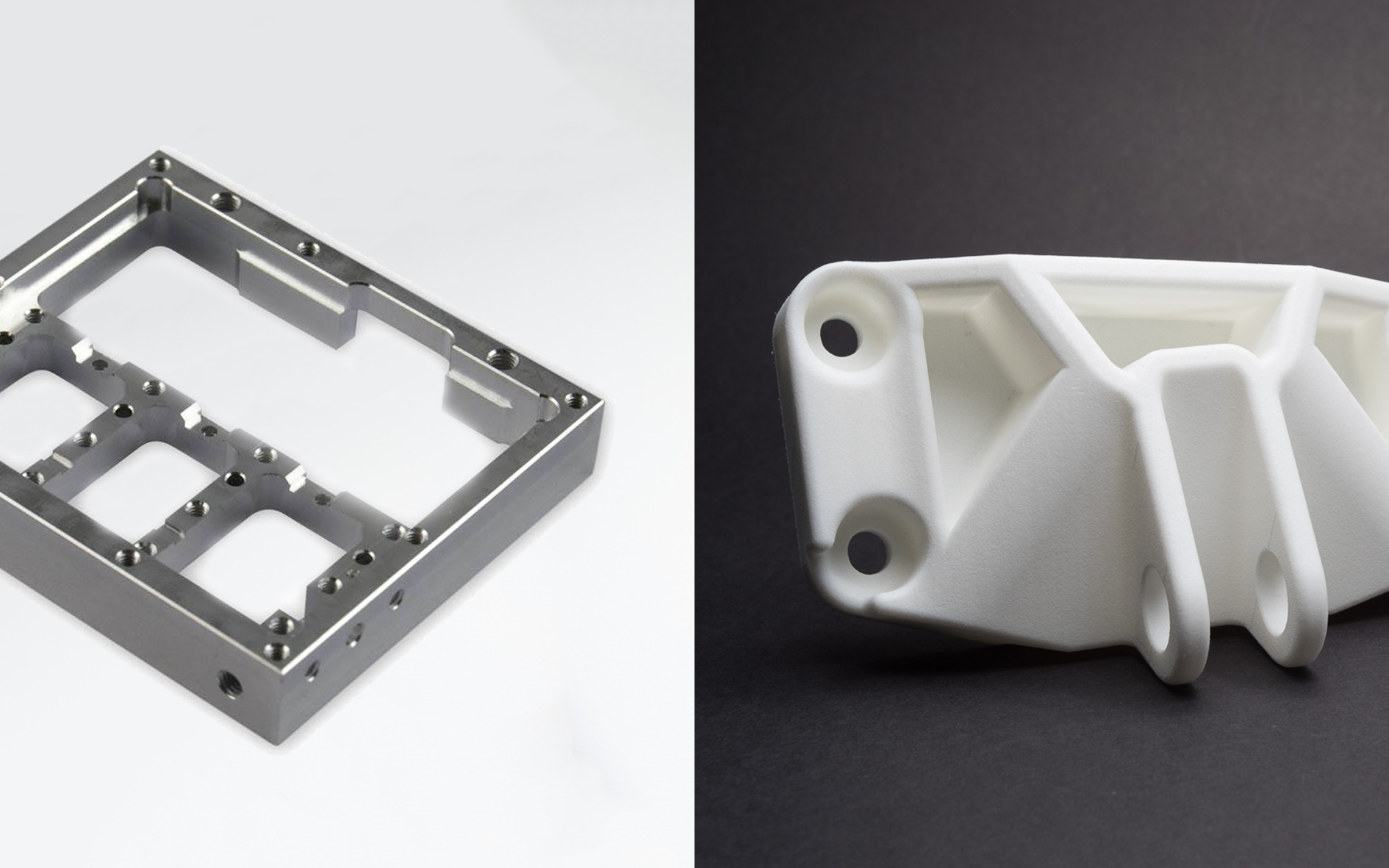 Color printing vs black and white cost - An Aluminium Bracket Made Via Cnc Machining Left And A Functional Nylon Bracket Made With Sls Printing Right
