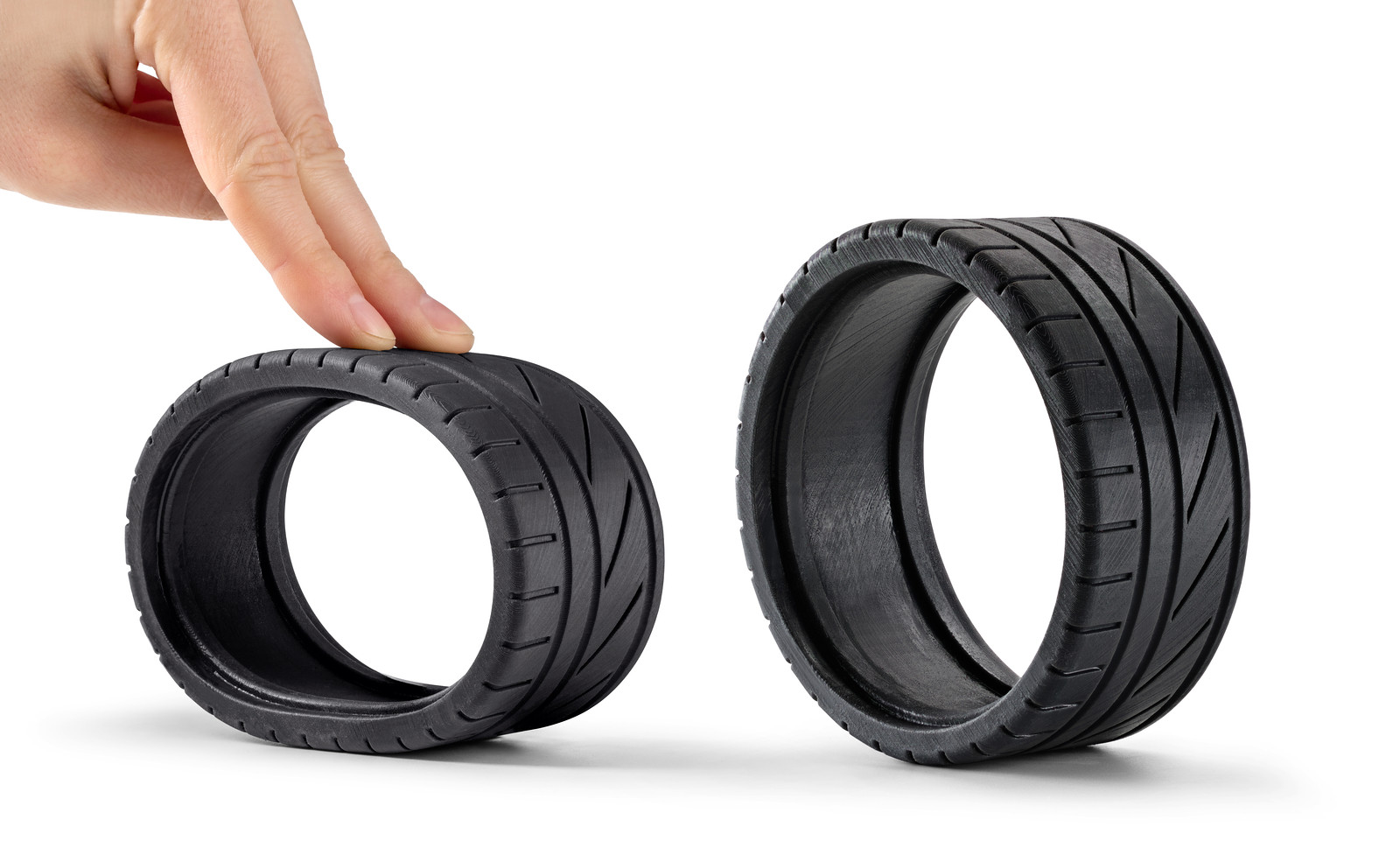 A model car tire 3D printed with SLA in Rubber-like (flexible) resin
