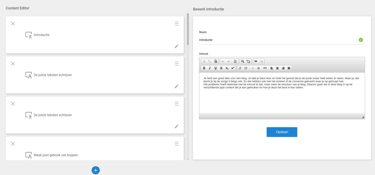 Structuur in de Webanizr Content Editor