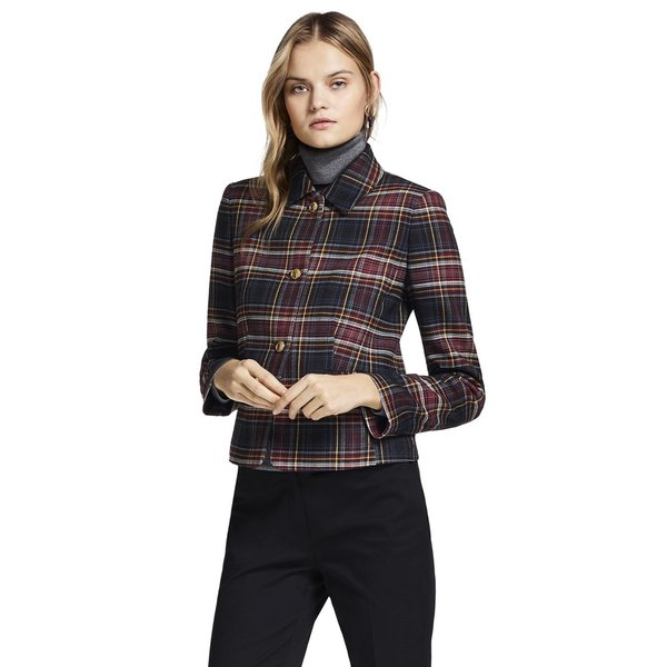 Plaid double face wool blend jacket