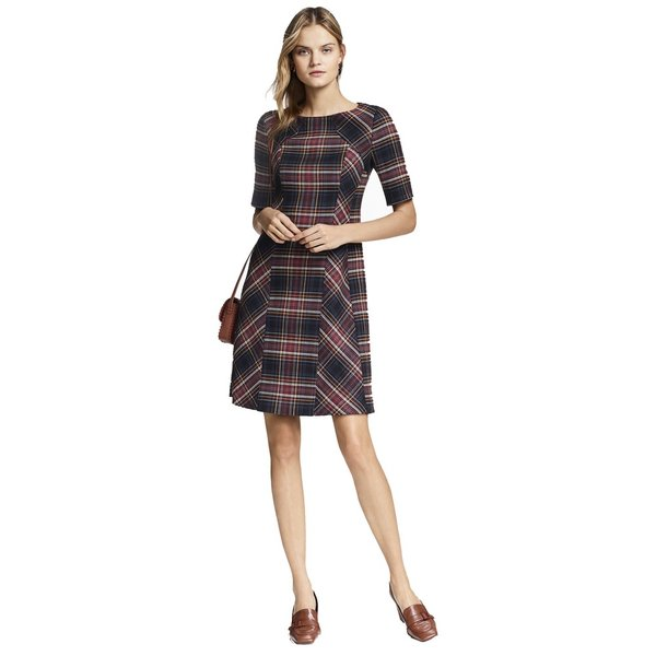 Plaid double faced wool blend dress