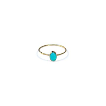 Anello turchese ovale oro %281%29