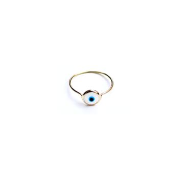 Anello filo occhio bianco oro