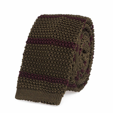 Knitted tie green   bordeaux