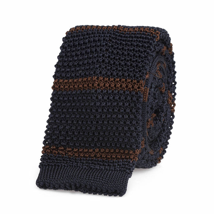 Knitted tie blue   brown
