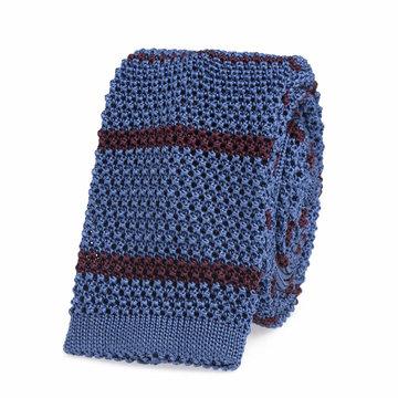 Knitted tie light blue   bordeaux