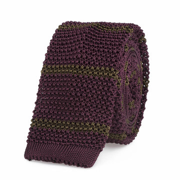 Knitted tie bordeaux   green