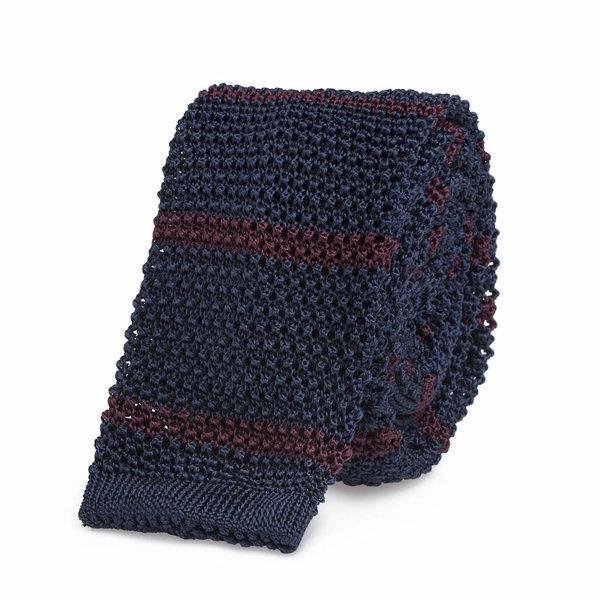 Knitted tie blue   bordeaux
