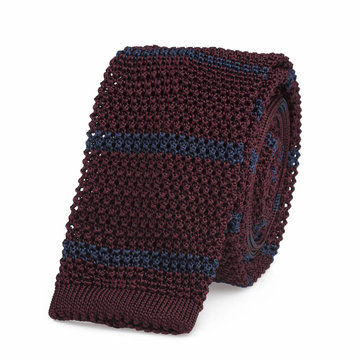 Knitted tie bordeaus   blue