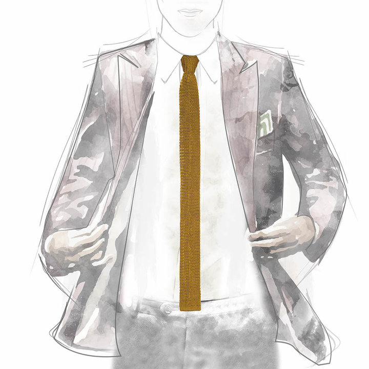 Knitted tie gold 3
