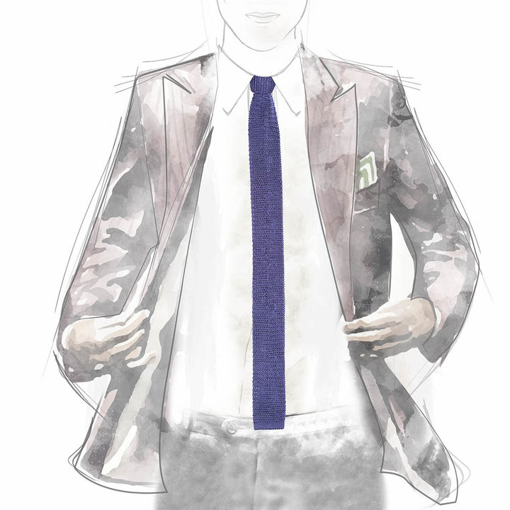 Knitted tie lilac 3