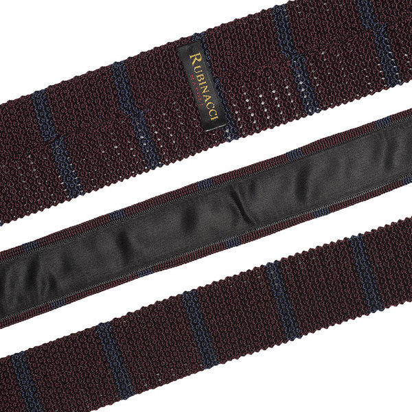 Knitted tie bordeaus   blue 2