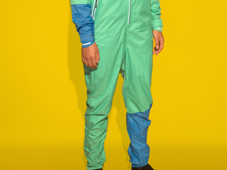 RAYNSIE | Dip Green Blue | Waterproof onesie for urban cycling, outdoor, festival and camping