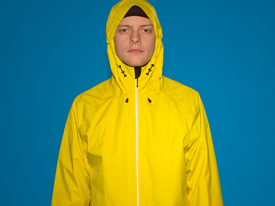 RAYNSIE | Dip Yellow Red | Adjustable hood | Waterproof onesie for urban cycling, outdoor, festival and camping