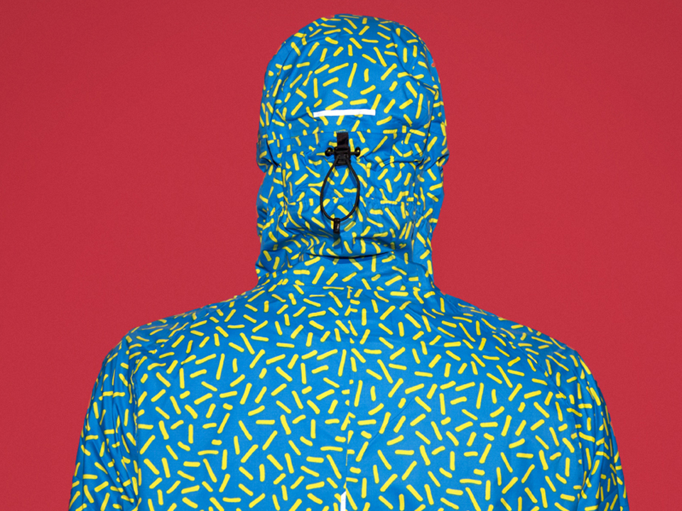 RAYNSIE | Hagelslag Blue Yellow | Reflectors | Waterproof onesie for urban cycling, outdoor, festival and camping