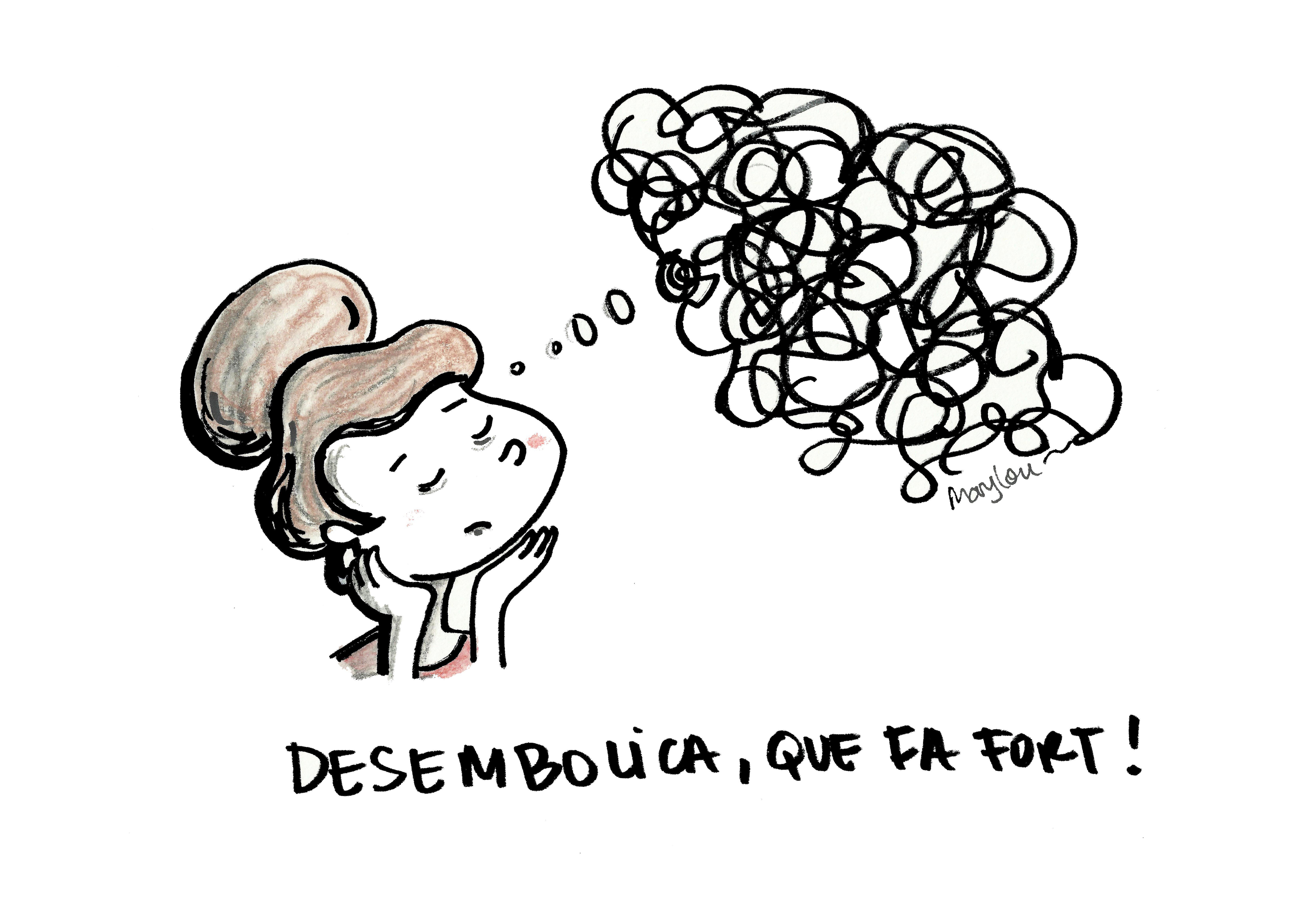 Una noia pensant en tot de fils embolicats