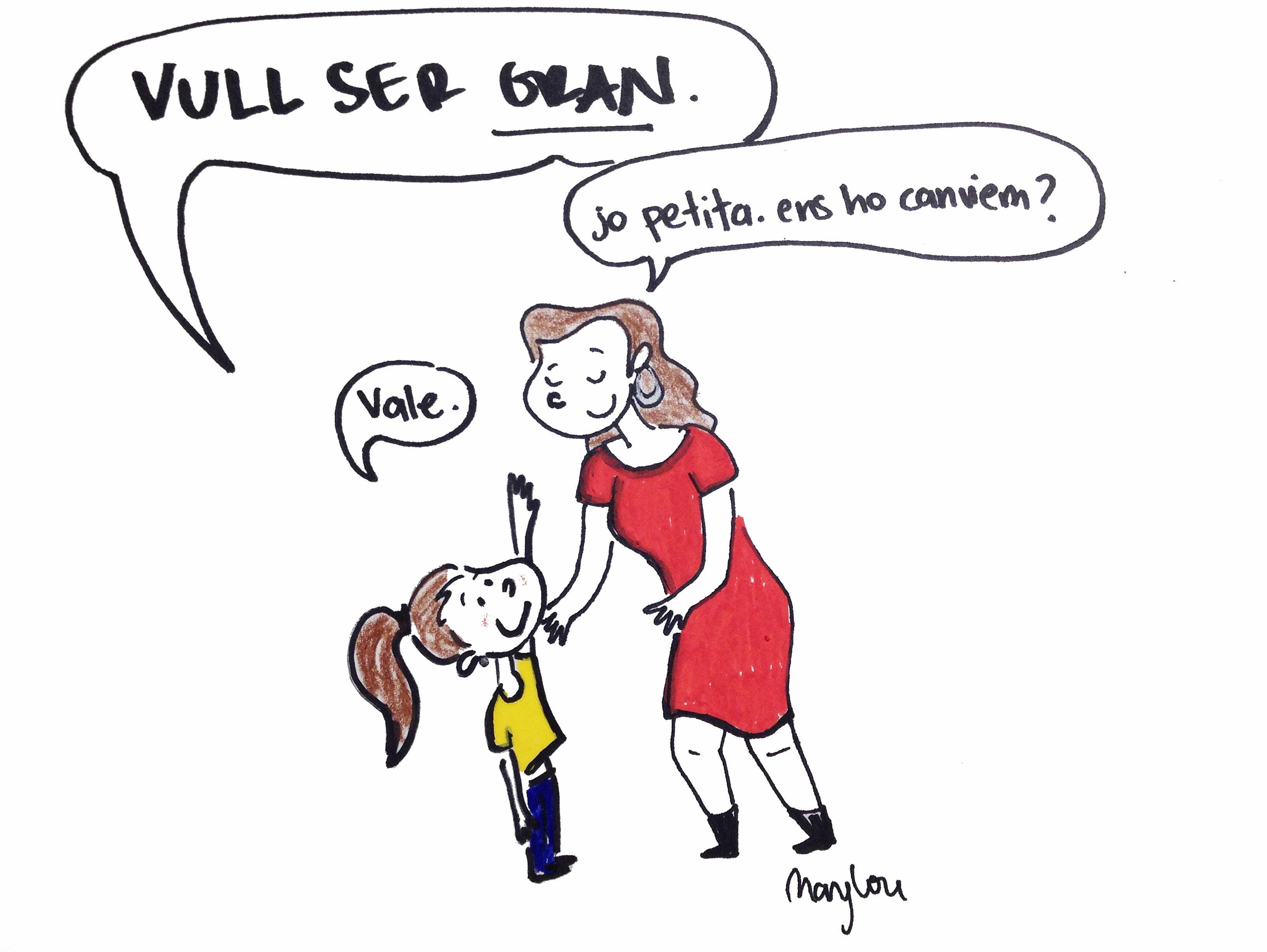 Una nena i una mare que volen ser gran i petita, respectivament