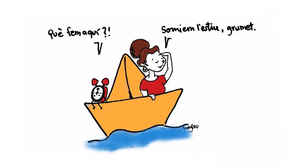 Una noia i el seu rellotge animat, somiant en l'estiu dalt d'un vaixell