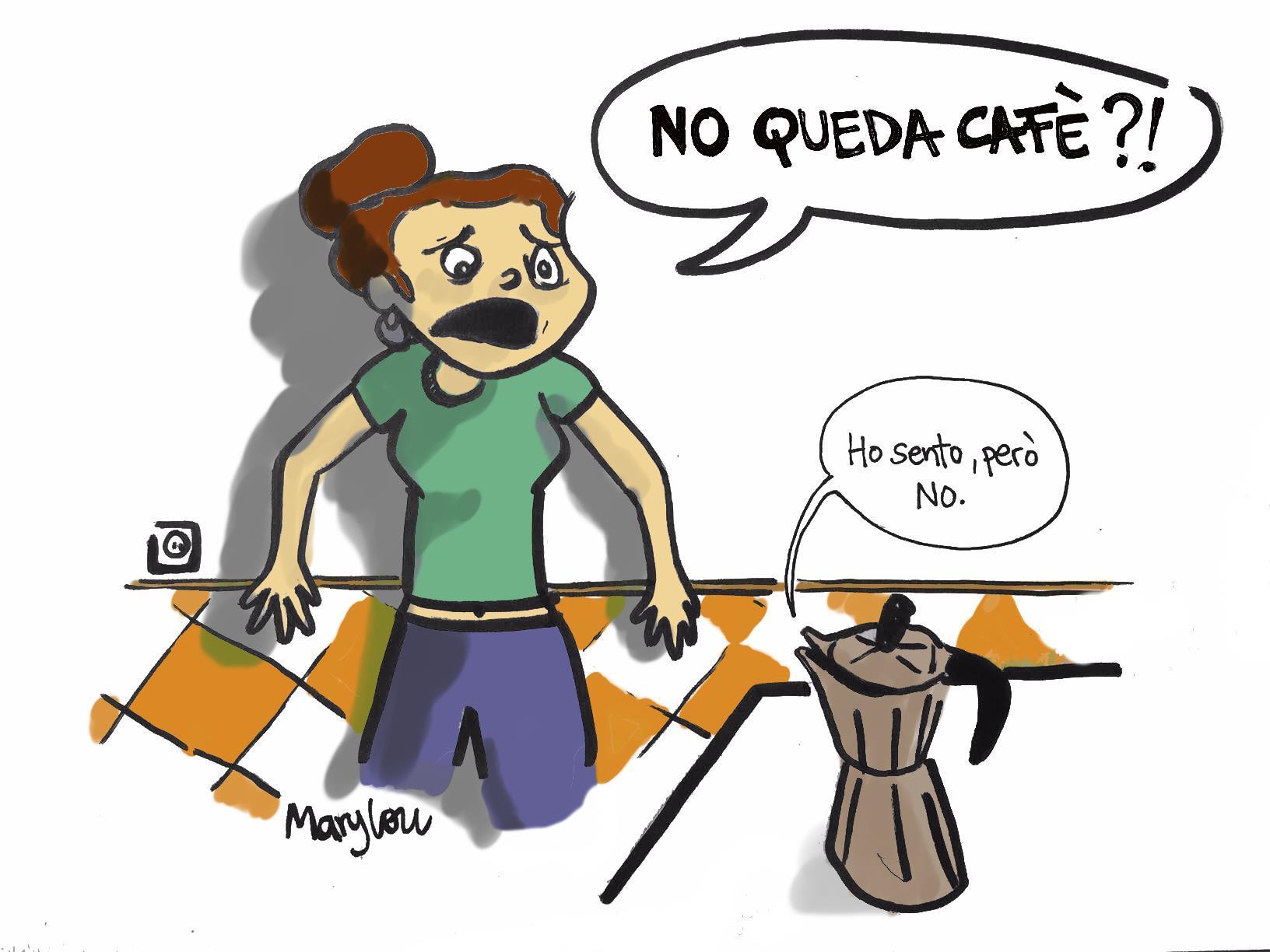Una noia s'adona que no li queda cafè