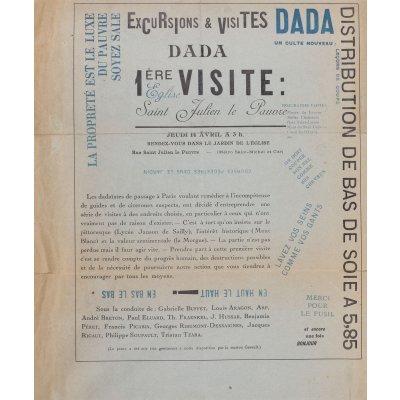 """Afiș DADA """"1ère visite a L'église Saint-Julien-le-Pauvre"""", Paris, 14 aprilie 1921"""