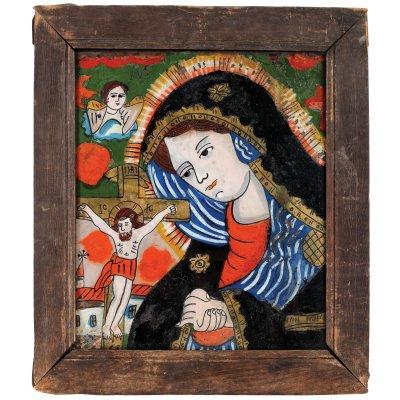 """Icoană pe sticlă, """"Maica Domnului îndurerată"""", atelier zona Sibiului, atribuit Petru Tămaș, a doua jumătate a sec. XIX, provine din colecția pictorului Brăduț Covaliu"""