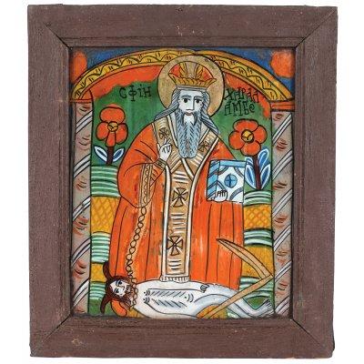 """Icoană pe sticlă, """"Sfântul Haralambie"""", atelier zona Sibiului , mijlocul sec. XIX, provine din colecția pictorului Brăduț Covaliu"""