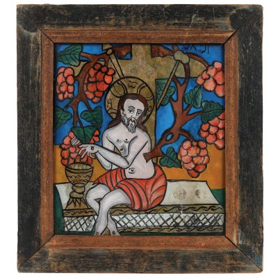 """Icoană pe sticlă, """"Iisus Hristos-Viţă de Vie"""", atelier zona Sibiului, mijlocul sec. XIX, provine din colecția pictorului Brăduț Covaliu"""