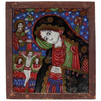 """Icoană pe glajă, """"Maica Domnului îndurerată"""", atelier zona Sibiu, atribuit Petru Tămaș, a doua jumătate a sec. XIX, provine din colecția pictorului Brăduț Covaliu"""