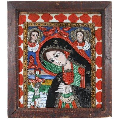 """Icoană pe sticlă, """"Maica Domnului îndurătoarea"""", atelier zona Sibilului, atribuit Matei Țâmforea, a doua jumătate a sec. XIX, provine din colecția pictorului Brăduț Covaliu"""