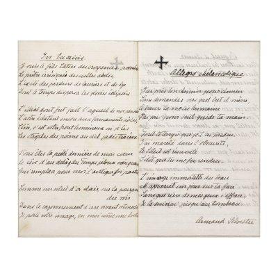 """Transcrieri și interpretări ale Reginei Maria după muzică și poezii de Armand Silvestre, Charles Baudelaire și François Coppé - """"In Excelsis"""", """"Allegro mélancolique"""", """"Orgueil d'Aimer"""", """"À une Passante """" și """"Le Pays des rêves"""", pe hârtia sa cu antet, cca. 1900, cu semnătura olografă a reginei (4 file)"""