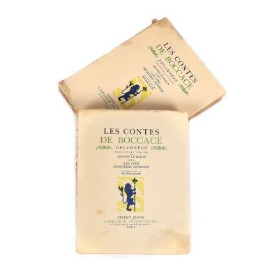 """""""Povestirile lui Boccace - Decameron"""", franceză, tradusă de Antoine Le Maçon, două volume, Paris, 1934, cu 32 de gravuri color hors-text și 138 de gravuri de Filippo Brunelleschi"""