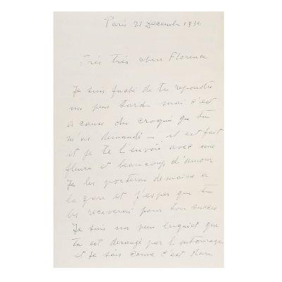 """Scrisoare de dragoste """"Te îmbrățișez de aici cu mintea și cu sufletul și-ți trimit multă dragoste, Morice"""" (Je t'embrasse d'ici avec l'esprit et le coeur et t'envoie beaucoup d'amour, Morice) trimisă de Constantin Brâncuși către Florence Meyer (Homolka) Paris, 21 decembrie 1936, cu semnătura olografă"""