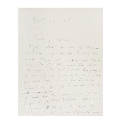 """Scrisoare de dragoste """"M-am gândit și mă gândesc mult la tine, tot timpul mă gândesc"""" (J'ai pensé et je passe beaucoup à toi, tout le temps je pense) trimisă de Constantin Brâncuși către Florence Meyer (Homolka), Paris, 7 august 1938, cu semnătura olografă"""