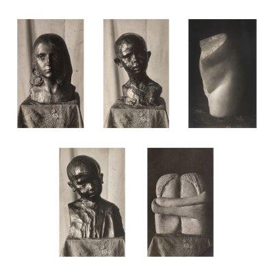 """Lot format din cinci fotografii ilustrând celebrele lucrări """"Cap de copil"""", """"Coapsă"""", """"Sărutul"""", """"Portret"""", """"Cap de copil"""", de Constrantin Brancuși, din colecția avocatului Victor N. Popp"""