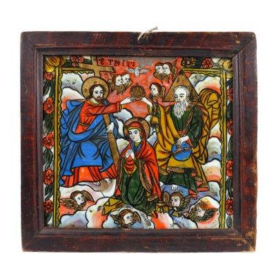 """Icoană pe glajă, """"Încoronarea Maicii Domnului"""", ramă pictată, atelier transilvănean (Mărginimea Sibiului), jumătatea sec. XIX, de colecție"""