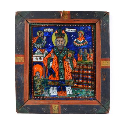 """Icoană pe glajă, """"Sfântul Nicolae"""", ramă pictată, atribuit zugrav Nicolae Oancea din Vale, Mărginimea Sibiului, jumătatea sec. XIX"""