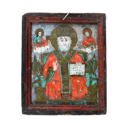 """Icoană pe glajă, """"Sfântul Nicolae pe tron"""", ramă pictată, atribuit Ioan Costea Verman, Mărginimea Sibiului, cca. 1830-1850"""