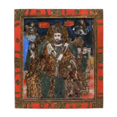 """Icoană pe glajă, """"Sfântul Nicolaie"""", ramă pictată, atribuit zugrav Ion Morar, Săliștea, Sibiu, a doua jumătate a sec. XIX"""