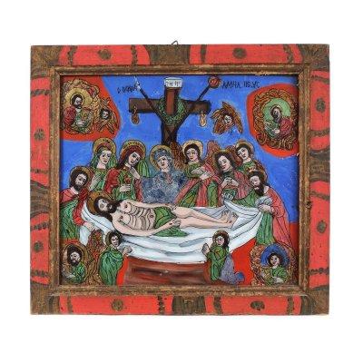 """Icoană pe glajă, """"Plângerea lui Iisus"""", ramă pictată, atribuit zugrav Ion Morar, Săliștea, Sibiu, a doua jumătate a sec. XIX"""