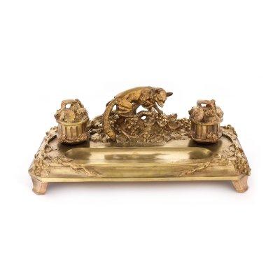 """Le renard et les raisins"" - superbă encrieră Albert Marionnet, Art Nouveau, din bronz aurit, cca. 1900, piesă rară, de colecție"