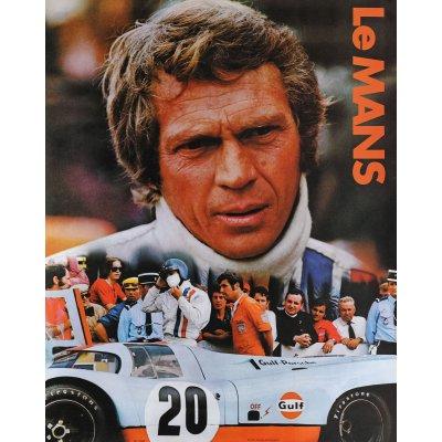 Afiș de promovare al turului Le Mans, cu imaginea lui Steve McQueen în prim-plan, Franța, cca. 1971