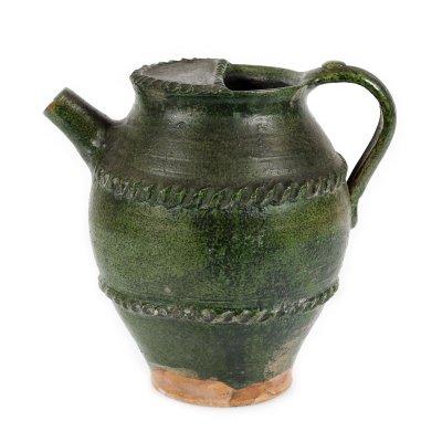 Ulcior săsesc din ceramică, pentru vin, cu decor geometric, Miercurea Sibiului, mijlocul sec. XIX
