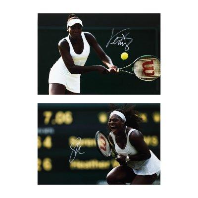 Lot format din două fotografii ilustrându-le pe Serena și Venus Williams, cu semnătura olografă și certificate de autenticitate