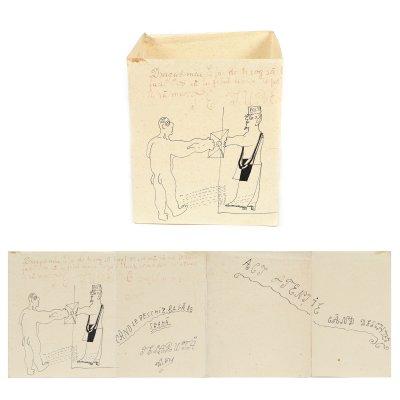 """Picto-poezie """"Le Facteur"""", de Victor Brauner, cca. 1924, piesă extrem de rară, de colecție"""