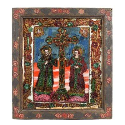 """Icoană pe glajă, """"Sfinții Împărați Constantin și Elena"""", ramă pictată, atribuit zugrăvițelor Morar, Săliștea, Sibiu, ultimele decenii ale sec. XIX"""