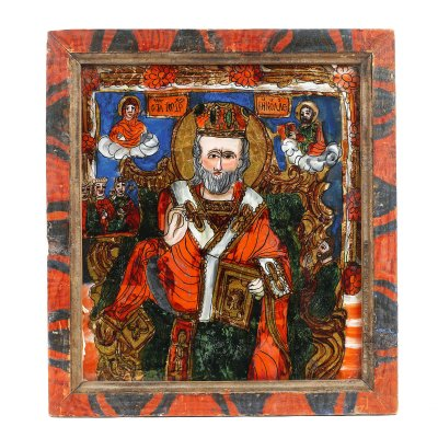"""Icoană pe glajă, """"Sfântul Nicolae făcătorul de minuni, tronând"""", ramă pictată, atribuit zugrăvițelor Morar, Săliștea, Sibiu, ultimele decenii ale sec. XIX"""