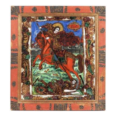 """Icoană pe glajă, """"Sfântul Dumitru ucigându-l pe Lie"""", ramă pictată, atribuit zugrăvițelor Morar, Săliștea, Sibiu, ultimele decenii ale sec. XIX"""