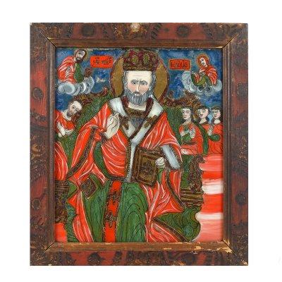 """Icoană pe glajă, """"Sfântul Nicolae făcătorul de minuni, tronând"""", ramă pictată, atribuit zugrav Ion Morar, Săliștea, Sibiu, a doua jumătate a sec. XIX"""