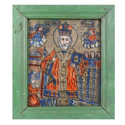 """Icoană pe glajă, """"Sfântul Nicolae"""", ramă vopsită, cu șforț, atribuit zugrav Nicolae Oancea din Vale, Mărginimea Sibiului, a doua jumătate a sec. XIX"""