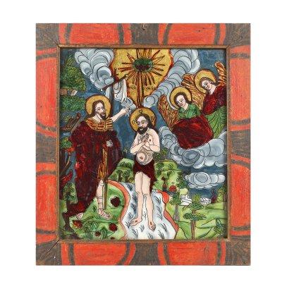 """Icoană pe glajă, """"Botezul Domnului"""", ramă pictată, atribuit zugrav Elena sau Elisabeta Morar, Săliștea, Sibiu, ultimele decenii ale sec. XIX"""